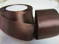 Лента атлас 5 см Шоколадная (коричневая)