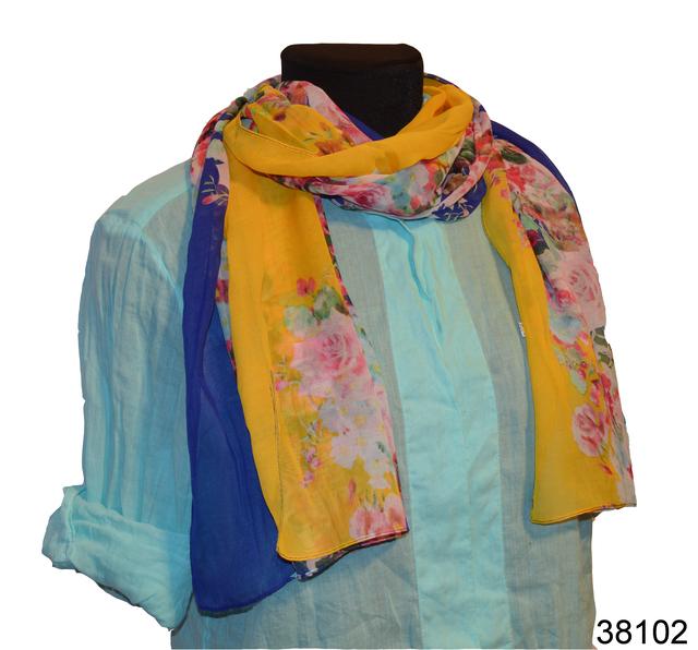 Женский желтый с синим модный шифоновый шарф Кармен 1