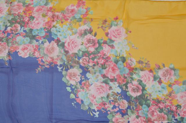 Женский желтый с синим модный шифоновый шарф Кармен 2