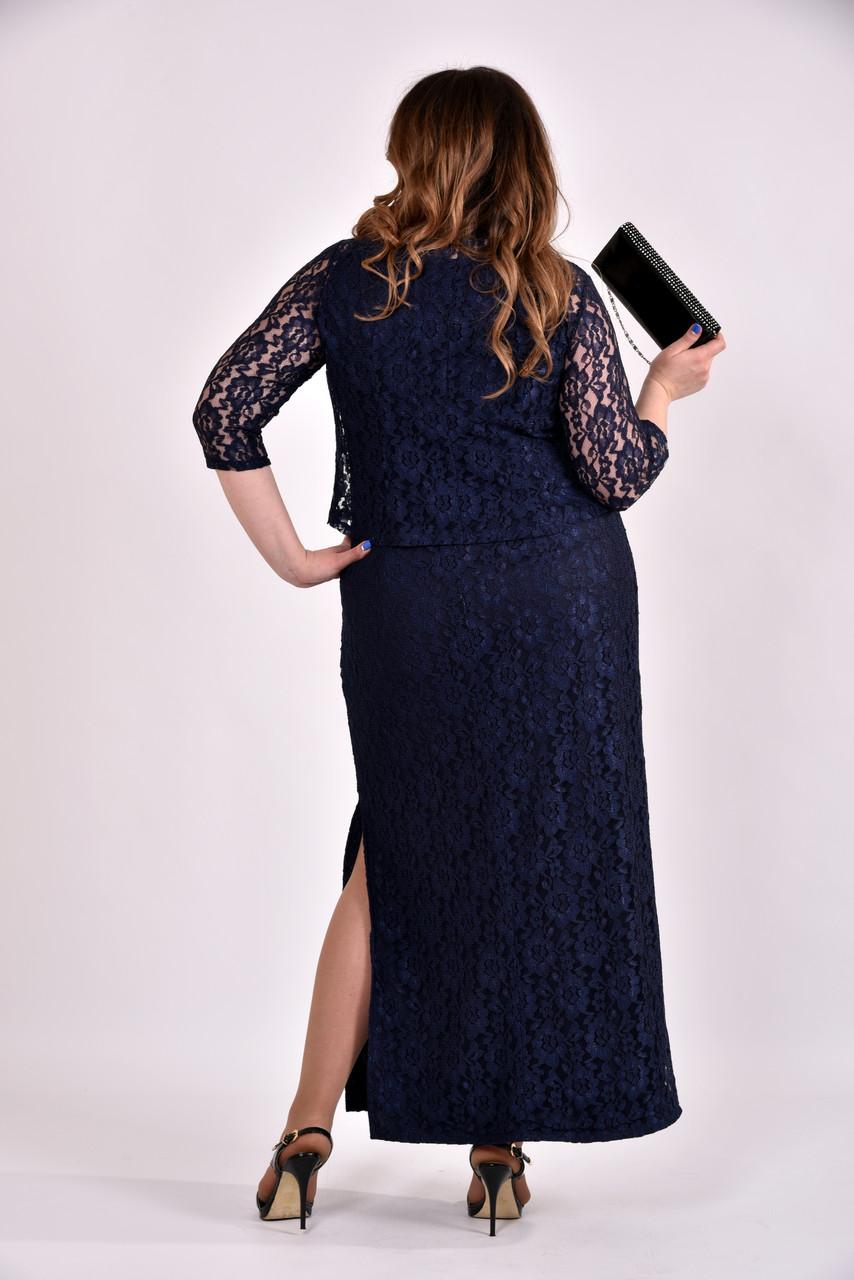 5375cd1f044 Гипюровый костюм больших размеров 0487 синий