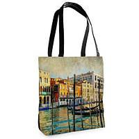 Большая черная сумка Нежность с принтом Венеция