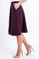 Женская юбка -полусолнце средней длины Мэлани бордового цвета