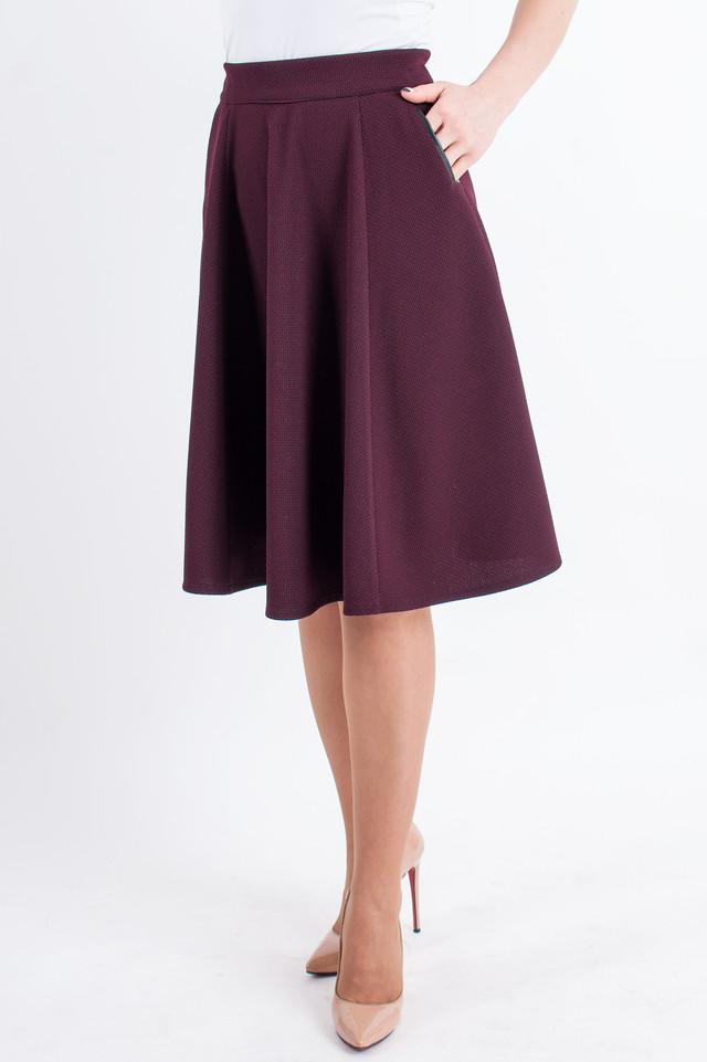 a7c994b26d3 Женская юбка -полусолнце средней длины Мэлани бордового цвета