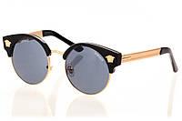 Женские солнцезащитные очки черный градиент, оправа глянцевый черный/вставки золото