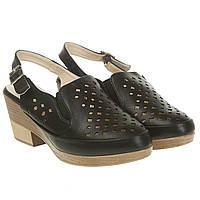 Босоножки женские Summergirl (удобные, черные, с перфорацией, практические, с закрытым носком)