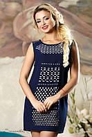 Женское летнее приталенное платье с перфорацией
