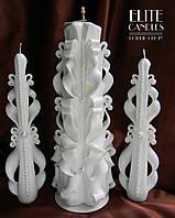 Свадебные свечи, семейный очаг, белые резные свечи с бусинками.