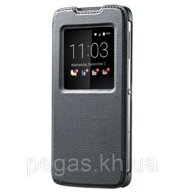 Чехол кожа BlackBerry DTEK50 умный флип черный. Оригинал