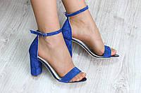 Босоножки на устойчивом каблуке  синие замш