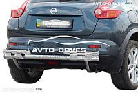 Защита заднего бампера на Nissan Juke 2010-2014 (на пластинах)