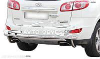 Защита заднего бампера на Hyundai Santa Fe II 2006-2010 (на пластинах)