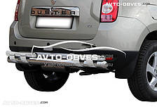 Защита заднего бампера на Dacia Duster (на пластинах)