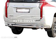Защита заднего бампера на Mitsubishi Pajero Sport III 2016-... (на пластинах)