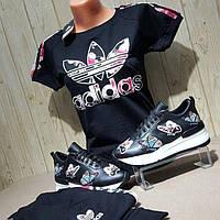 Летний черный костюм с принтом adidas