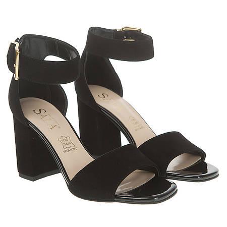 Босоножки женские SALA (черные, замшевые, изысканный дизайн, классические, стильные)