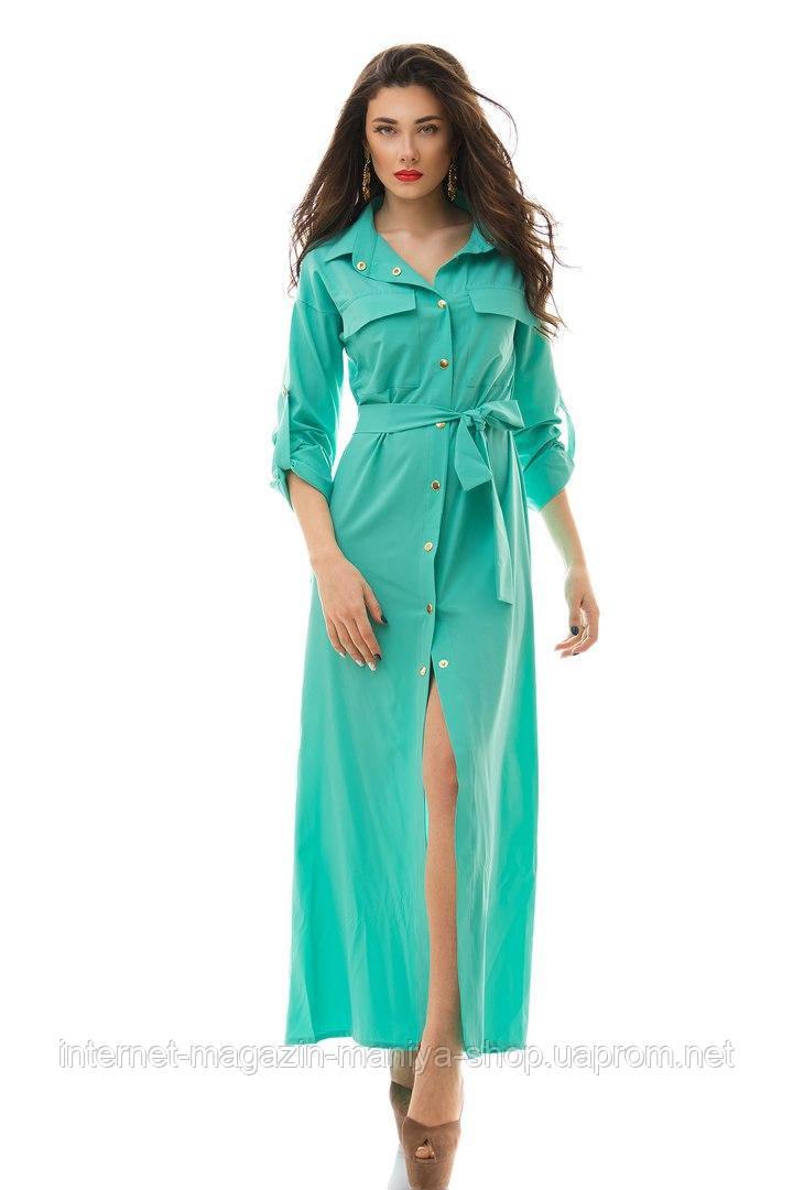 Платье женское 3042 на кнопках с поясом трансформер в пол (лето)