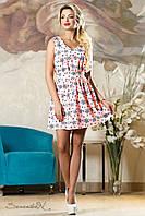 Женское летнее лёгкое платье  с поясом розовое