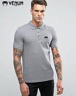 Мужская тенниска поло с принтом  Venum Венум серая футболка