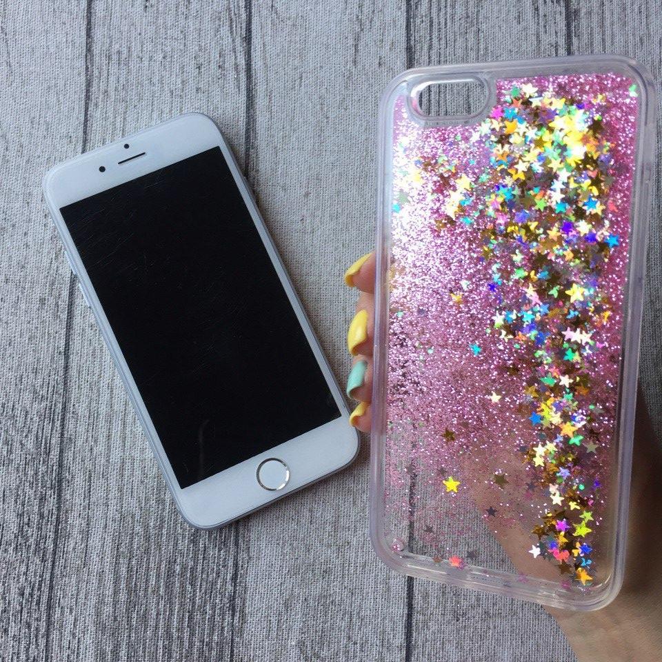 Силиконовый бледно-розовый чехол с переливающимися блёстками для iPhone 6/6s
