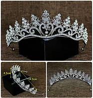 Корона, диадема для девочки, тиара в серебре, высота 4,5 см.