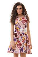 Платье женское 3024 цветы пояс с бантом (лето)