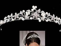 Комплект корона, колье, серьги, диадема, тиара в серебре, высота 3 см.