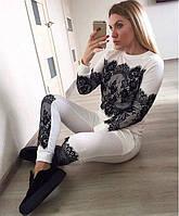 Спортивный костюм женский белый с кружевом  СБ/-1667