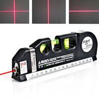 Лазерный уровень Laser Level Pro 4 с 3 видами разметки, рулетка 2,5 м, подсветка