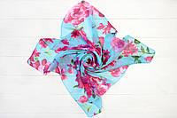 Платок Мими хризантема голубой