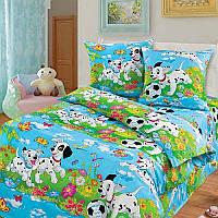 """Комплект постельного белья """"Далматинцы на голубом"""", в кроватку"""