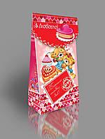 Картонная подарочная упаковка для конфет 200-250 г с открыткой