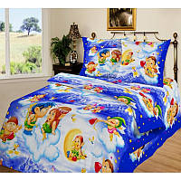 Ткань для детского постельного белья, поплин Амуры на голубом