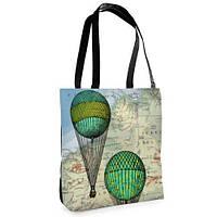Большая черная сумка Нежность с принтом Воздушный шар