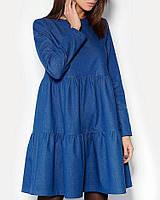 Стильное джинсовое платье свобного кроя