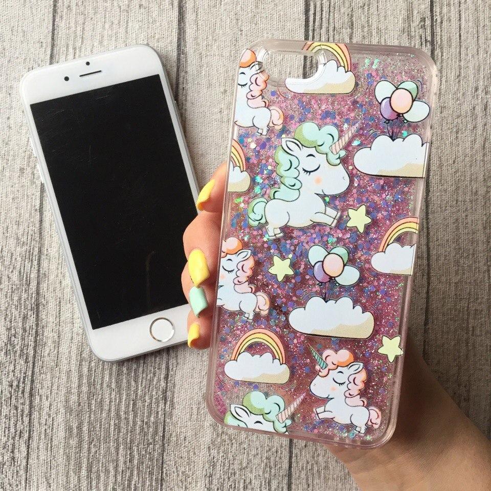 Силиконовый сиреневый чехол с переливающимися блёстками и единорогами для iPhone 6/6s