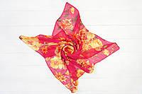 Платок Мими хризантема малиновый