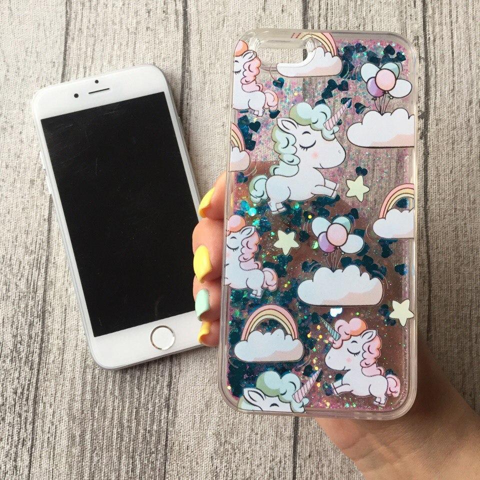 Силиконовый голубой чехол с переливающимися блёстками и единорогами для iPhone 6/6s
