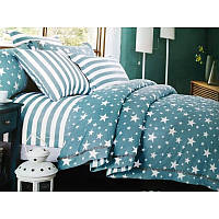 Ткань для постельного бель Сатин  BLUE STAR, основа (ткань со звездами)