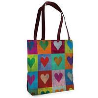 Большая сумка Нежность с принтом Сердца цветные