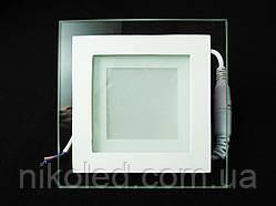 Светильник точечный Стекло LED 6W квадрат  Теплый белый
