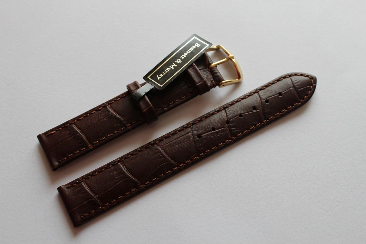 Кожаный ремень Bennett&Murray-ремень из натуральной кожи коричневый под крокодил 18 мм