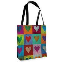 Большая сумка Нежность с принтом Цветные сердца