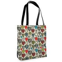 Большая сумка Нежность с принтом Цветные сердечка