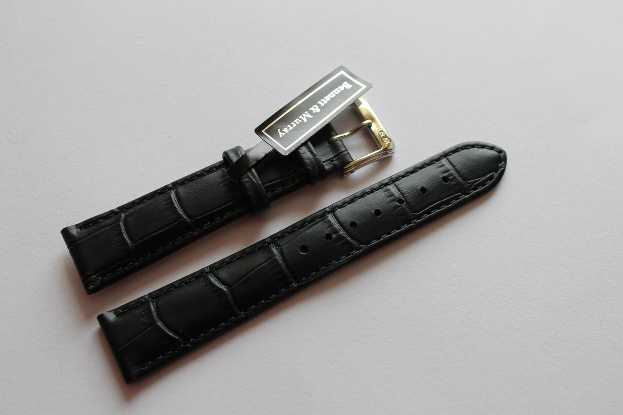 Кожаный ремень Bennett&Murray-ремень из натуральной кожи синий под крокодил 18 мм