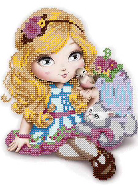 Схема для вышивки бисером POINT ART Девочка с птичкой, размер 15х20 см