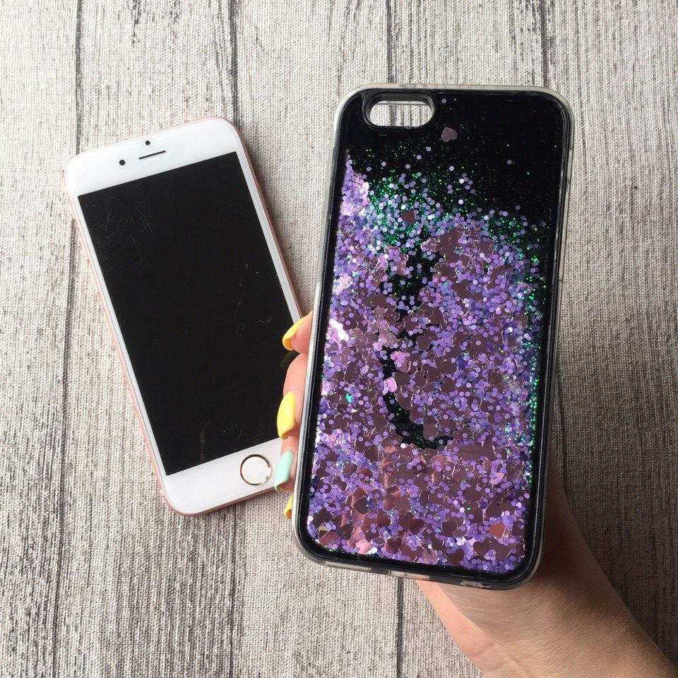 Силиконовый фиолетовый чехол с переливающимися блёстками на чёрном фоне для iPhone 6/6s
