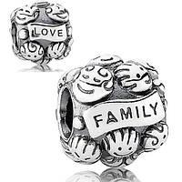 "Pandora серебряный шарм бусина ""Family Love"" Пандора"