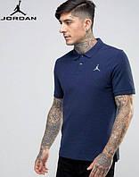 Футболка темно-синяя поло с принтом  Jordan Джордан тенниска