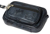 Качественная поясная сумка-барсетка из кожи Always Wild 901-TT navy