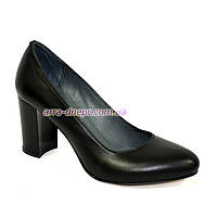 """Женские кожаные черные классические туфли на каблуке. ТМ """"Maestro"""""""